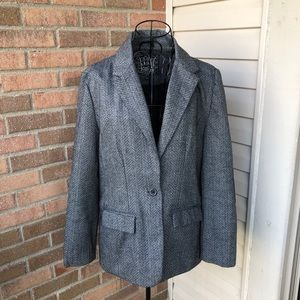 Tweed blazer with faux leather elbow patches